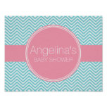 Baby Shower Collection - Pink & Aqua Blue Chevrons Poster