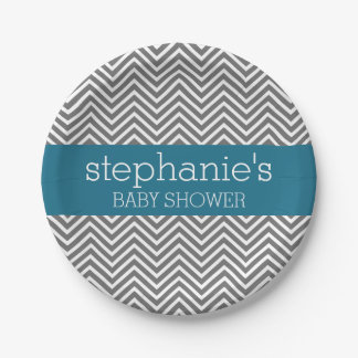 Baby Shower Collection - Teal and Gray Chevrons Paper Plate