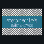"""Baby Shower Collection - Teal and Gray Chevrons Sign<br><div class=""""desc"""">A modern and chic design for a mom-to-be.</div>"""