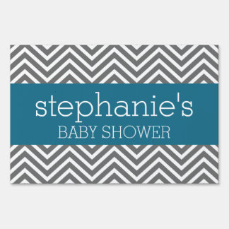 Baby Shower Collection - Teal and Gray Chevrons Sign