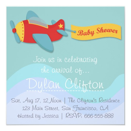 Baby Shower: Colorful & Adorable Cartoon Aeroplane Card