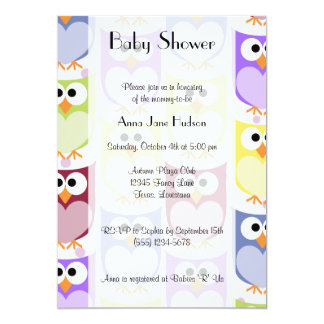 Baby Shower - Colorful Owls - Green Blue Purple 5x7 Paper Invitation Card