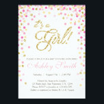 "Baby Shower Confetti Pink Gold Glitter Invitation<br><div class=""desc"">♥ A cute and fun baby shower invite for a little girl on her way!</div>"