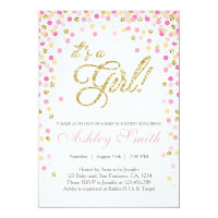 Baby Shower Confetti Pink Gold Glitter Invitation