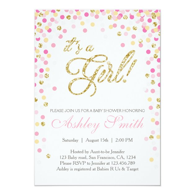 baby shower confetti pink gold glitter invitation | zazzle, Baby shower invitations