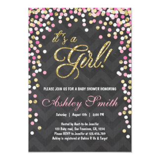 pink gold glitter baby shower invitations & announcements | zazzle, Baby shower invitations