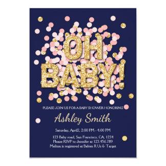 Baby Shower Confetti Pink Gold Navy Invitation