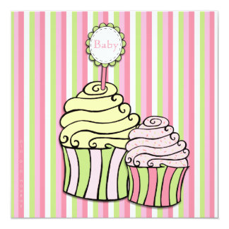 Baby Shower Cupcake Parlour Striped Invitation