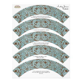 Baby Shower Cupcake Wrappers - Blue Brown Damask Flyer