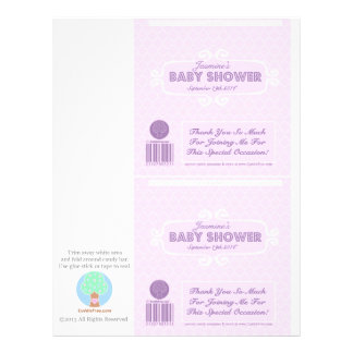 """Baby Shower Custom Candy Bar Wrappers Pink 8.5"""" X 11"""" Flyer"""