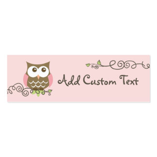 Baby shower custom owl tag Double-Sided mini business cards (Pack of 20)