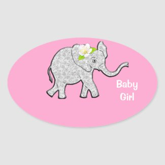 Baby Shower Customizable Baby Elephant Stickers