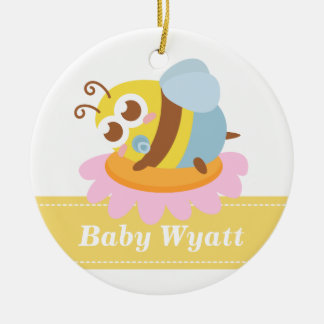 Baby Shower: Cute baby Bee resting on flower Ceramic Ornament