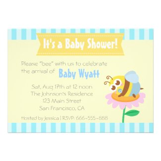 Baby Shower: Cute baby Bee resting on flower Personalized Announcements