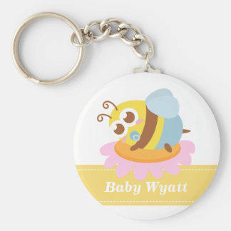Baby Shower: Cute baby Bee resting on flower Keychain
