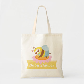 Baby Shower: Cute baby Bee resting on flower Tote Bag