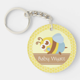 Baby Shower: Cute baby Bee with honeycomb circle Key Chains