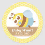 Baby Shower: Cute baby Bee with honeycomb pattern Sticker
