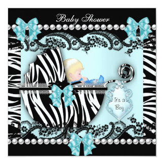Baby Shower Cute Baby Blonde Boy Blue Zebra 5.25x5.25 Square Paper Invitation Card