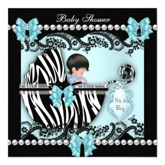Baby Shower Cute Baby Boy Blue Zebra Lace 5.25x5.25 Square Paper Invitation Card