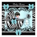"Baby Shower Cute Baby Boy Blue Zebra Lace 5.25"" Square Invitation Card"