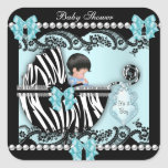 Baby Shower Cute Baby Boy Blue Zebra Lace Square Sticker