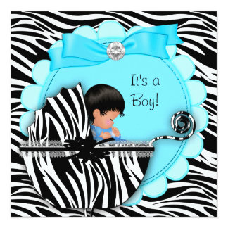 Baby Shower Cute Baby Boy Blue Zebra Pram 5.25x5.25 Square Paper Invitation Card