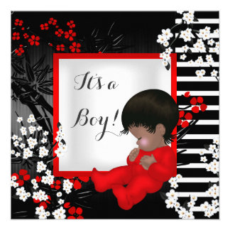Baby Shower Cute Baby Boy Red Blossom 2 AM Announcement