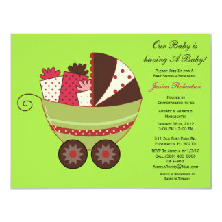 """Baby Shower, Cute Baby Carriage with Gifts, 4.25"""" X 5.5"""" Invitation Card"""