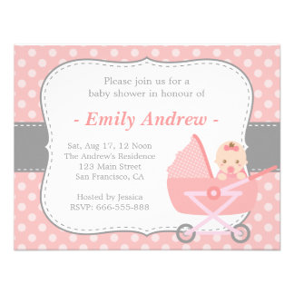 Baby Shower - Cute Baby Girl in Stroller Announcements