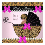Baby Shower Cute Baby Girl Leopard Hot Pink 5.25x5.25 Square Paper Invitation Card