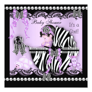 Baby Shower Cute Baby Girl Lilac Zebra Lace Card
