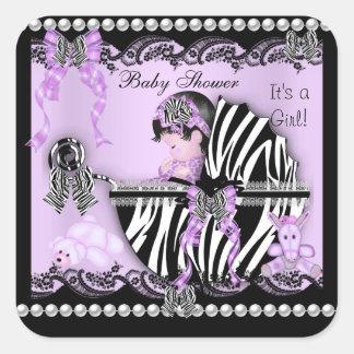 Baby Shower Cute Baby Girl Lilac Zebra Lace Sticker