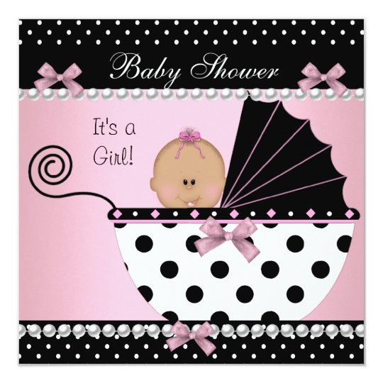 Baby Shower Cute Baby Girl Pink Black Bow Card