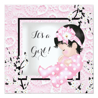 Baby Shower Cute Baby Girl Pink Blossom Lace C Card