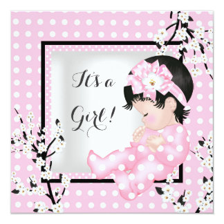 Baby Shower Cute Baby Girl Pink Blossom Spot C Card