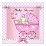 Baby Shower Cute Baby Girl Pink Check Pram 5.25x5.25 Square Paper Invitation Card