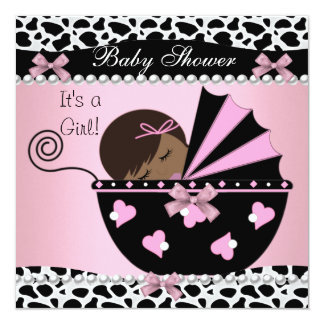 """Baby Shower Cute Baby Girl Pink Cow Print 5.25"""" Square Invitation Card"""