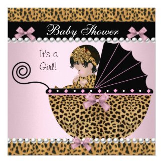 Baby Shower Cute Baby Girl Pink Leopard Bow
