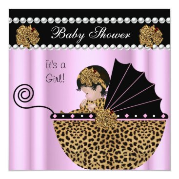 Toddler & Baby themed Baby Shower Cute Baby Girl Pink Leopard Bow Card