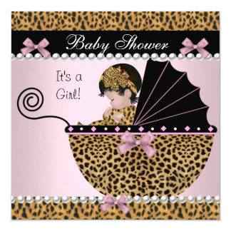 Baby Shower Cute Baby Girl Pink Leopard Bow Card