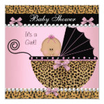 Baby Shower Cute Baby Girl Pink Leopard 5.25x5.25 Square Paper Invitation Card