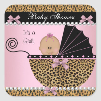 Baby Shower Cute Baby Girl Pink Leopard Square Sticker