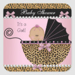 Baby Shower Cute Baby Girl Pink Leopard Stickers