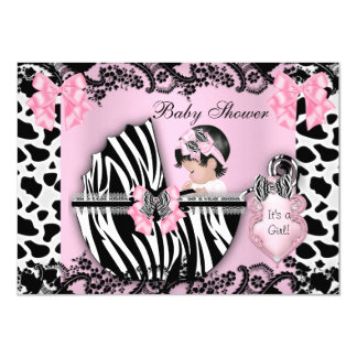 Baby Shower Cute Baby Girl Pink Zebra Cow Lace 3 4.5x6.25 Paper Invitation Card