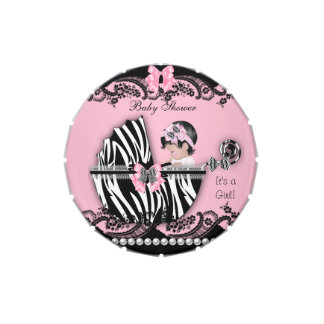 Baby Shower Cute Baby Girl Pink Zebra Favor Jelly Belly Candy Tins