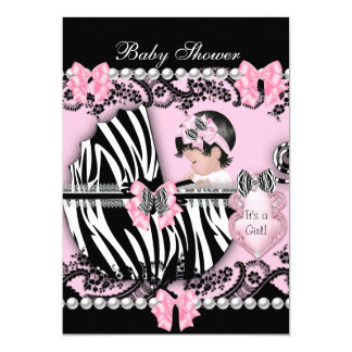 Baby Shower Cute Baby Girl Pink Zebra Lace 2 5x7 Paper Invitation Card