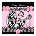 """Baby Shower Cute Baby Girl Pink Zebra Lace 2 5.25"""" Square Invitation Card"""
