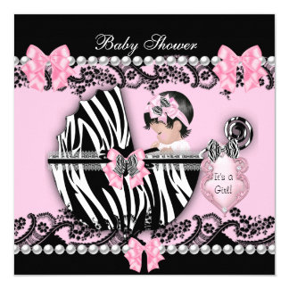 Baby Shower Cute Baby Girl Pink Zebra Lace 2 5.25x5.25 Square Paper Invitation Card