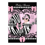 Baby Shower Cute Baby Girl Pink Zebra Lace 3.5x5 Paper Invitation Card
